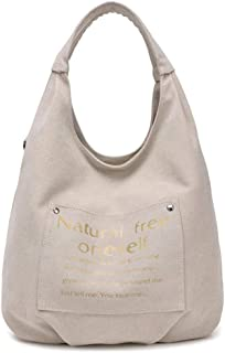Shoulder Bag Ladies' Casual Canvas Shoulder Bag Shopper Handbag Satchel for Students Handbag Clutch (Color : Beige)