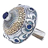 Aheli Oxidized Dome Shaped Adjustable Finger Ring Adorned Faux Stone Studded Indian Tribal Wedding Wear Fashion Jewelry for Women Girls