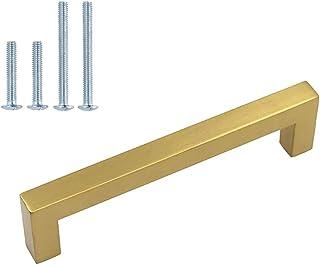 homdiy Kitchen Cabinet Handles Brushed Brass Cabinet Pulls 12 Pack Vintage Drawer Pulls -HDJ12GD Gold Cabinet Hardware Gol...