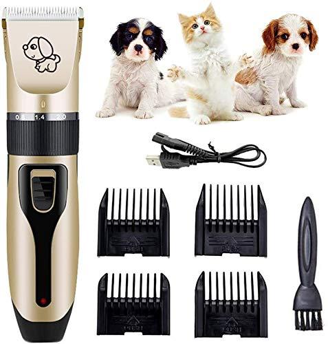 Cepillo de perro Clippers perro, de bajo ruido Peluquería Canina Clippers inalámbrico Pet Hair Trimmer, Herramienta de preparación del animal doméstico recargable, kit de aseo Profesional perr