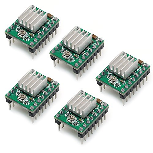 PoPprint A4988 Schrittmotor-Treiber, Ramps 1.4, mit Kühlkörper, für 3-D-Drucker, 5 Stück, grün, 5