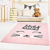 carpet city Kinderteppich Bubble Kids Flachflor mit Katze und Krone in Rosa für Kinderzimmer; Größe: 120x160 cm