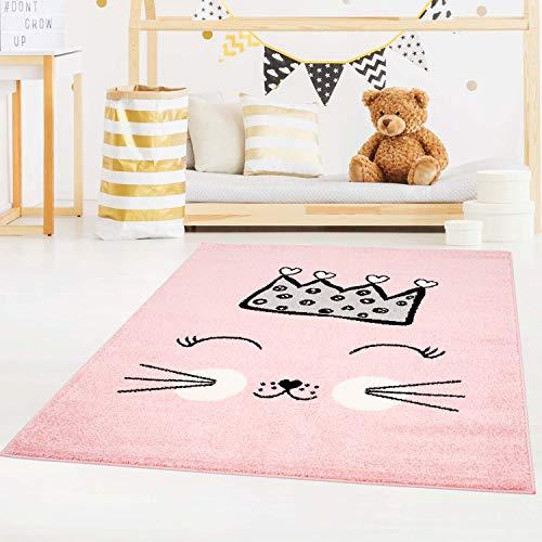 carpet city Kinderteppich Bubble Kids Flachflor mit Katze und Krone in Rosa für Kinderzimmer; Größe: 140x200 cm