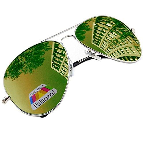 MFAZ Morefaz Ltd Herren Damen Lila Sonnenbrille Klassische Pilotenbrille Polarisierten Gespiegelt Pilot Mehrfarbig (Green Gespiegelt)