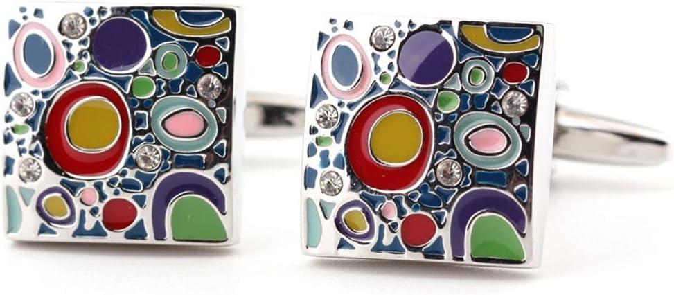 BO LAI DE Men's Cufflinks High-End Enamel Craftsmanship Colorful Cufflinks Men's Shirt Cufflinks Suitable for Business Activities, Conferences and Dances, with Gift Box