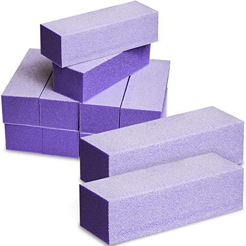 Excuse Me Professional Nail Buffer Sanding Block Nail Polisher Buffing 100/180 Grit Purple White for Manicure Acrylic Nail Art Kit Tools 10 PCS