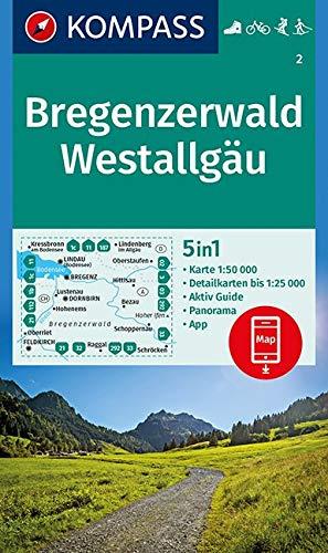 KOMPASS Wanderkarte Bregenzerwald, Westallgäu: 5in1 Wanderkarte 1:50000 mit Aktiv Guide, Detailkarten und Panorama inklusive Karte zur offline ... Langlaufen. (KOMPASS-Wanderkarten, Band 2)