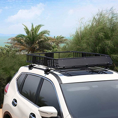Leader Accessories Roof Rack Cargo Basket with 150 LB Capacity Extension 64x 39x 6' Car Top Luggage Holder Carrier Basket Fit for SUV Truck Cars
