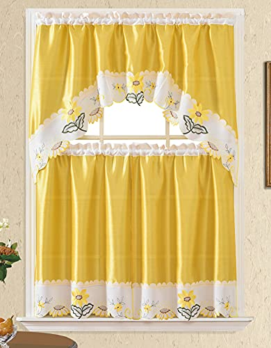 3pc Rod Pocket Embroidered Kitchen Curtains and Valances Set Swag Curtains & Tier Set 36 Inch Length Yellow Daisy Flower