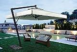 SCOLARO Parasol déporté - Leonardo Braccio Rectangle 3x4m Acrylique Dralon 350g/m2 Terracotta A2 avec Volants