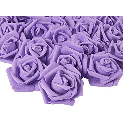 Rose Flower Heads Artificial Roses for Weddings and Crafts (Purple 3 in 100 Pack)