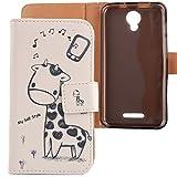 Lankashi PU Flip Leder Tasche Hülle Case Cover Schutz Handy Etui Skin Für Alcatel One Touch Pixi 4 5010D 5' Giraffe Design