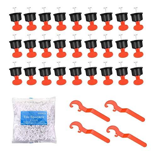 SETROVIC Fliesen Nivelliersystem Kit, Fliesenverlegehilfe mit 100 Stück wiederverwendbare Fliesen Abstandshalter und 4 Spezialschlüssel und 500 Stück 2 mm Fliesenkreuze für zum Bauen von Wandböden