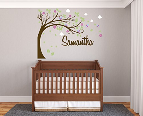"Personalized Name Tree And Flowers - Prime Series - Baby Girl - Nursery Wall Decal For Baby Room Decorations - Mural Wall Decal Sticker For Home Children's Bedroom (MM33) (Wide 42""x32"" Height)"