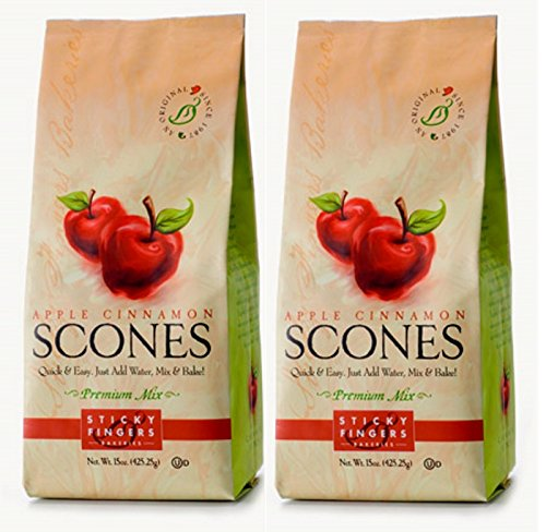Sticky Fingers Scone Mix (Pack of 2) 15 Ounce Bags - All Natural Scone Baking Mix (Apple Cinnamon)
