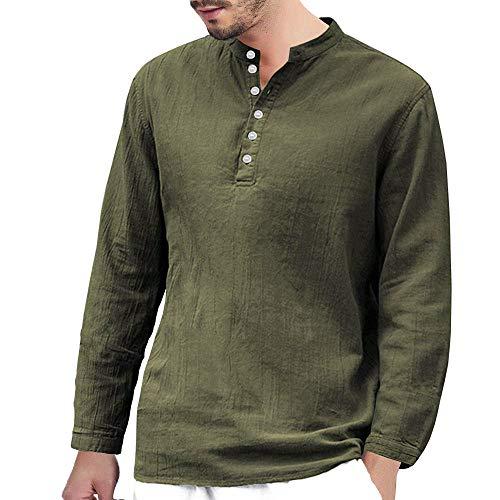DNOQN Herren Langarmshirt Herren Baggy Baumwolle Leinen Langarm Knopf Retro V-Ausschnitt T Shirts Tops Bluse L