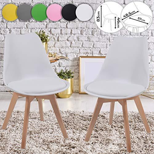MIADOMODO Esszimmerstühle 2er 4er 6er 8er Set - im Skandinavischen Stil, gepolstert mit Sitzkissen, aus Kunststoff & Massivholz, Farbwahl - Vintage, Retro, Küchenstuhl, Stühle (2er, Weiß)