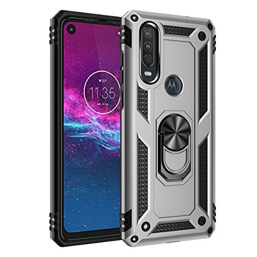 FanTings Capa para Motorola One Vision, robusta e à prova de choque, com suporte de celular, capa para Motorola One Vision-Prata