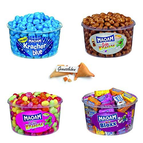 Haribo Maoam 4er Set, Cola Kracher Blue Kracher, Fruchtkracher, Bloxx Dragees, Kaubonbon und Gratis GenusslebenGlückskeks