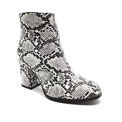 Angkorly - Damen Schuhe Stiefeletten Stiefel - Biker - Low - Sexy - Tierdruck Animal-Print - Pythonschlangenhauteffekt - Waage Blockabsatz high Heel 7 cm - Weiß FR366 T 38