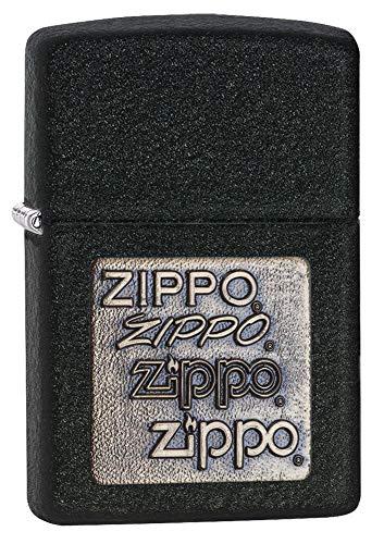 Zippo Brass Emblem Pocket Lighter, Black Crackle, One Size -  Zippo Manfacturing Company, 362