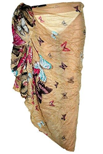 Tamari Beachwear Damen Bademode Überzug & Sarongs, Einheitsgröße (ca. 175 cm x 90 cm) Gr. onesize, beige