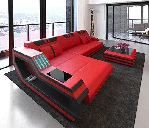 Schlichter Möbel Wohnmöbel Polstergarnitur Designsofa Sofa Stockholm L rot-schwarz