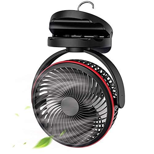 TIZJ Ventilador A Pilas con Gancho para Colgar, Campamento Portátil De 5 Pulgadas USB De 4 Velocidades Recargable, Rotación De 360 °, Ventilador con Clip para Carpa De Dormitorio, Playa, Negro