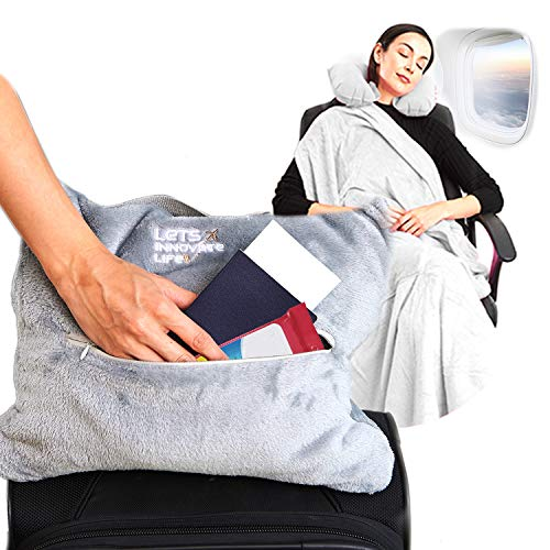 4 in 1 Travel Blanket - Lightweight, Warm and Portable. The Latest Small Compact Airplane Blankets & Pillow Set. Made of Warm Plush, 2 Practical Mesh Pockets with Fashionable Carry & Luggage Straps