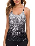 MANER Women's Sequin Tops Glitter Party Strappy Tank Top Sparkle Cami (XL/US 16-18, Silver/Gray/Black)