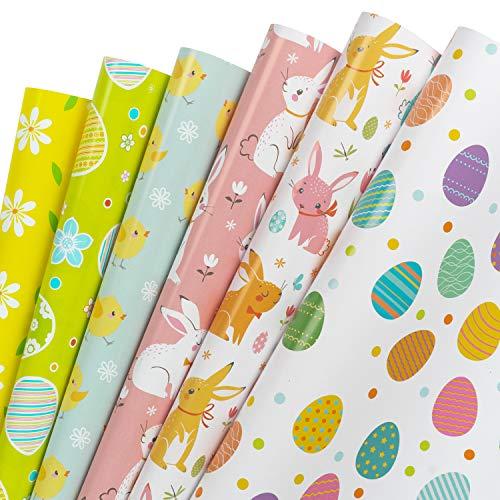RUSPEPA Geschenkpapierbögen - Frühlings-Ostermuster Für Geburtstag, Urlaub, Party, Babyparty - 1 Rolle Enthält 6 Blatt - 44,5 X 76 cm Pro Blatt