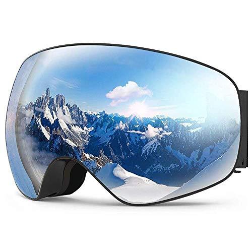OBOSOE Skibril, snowboard skibril met anti-condens, UV-bescherming, verwisselbare sfeervolle lens, winddicht, skibril voor sneeuwscooters, skiën en skiën