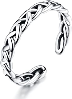Braided Celtic Love Knot Vintage Rings Sterling Silver 925 Twisted Ring Open Statement Band for Women Girls Men