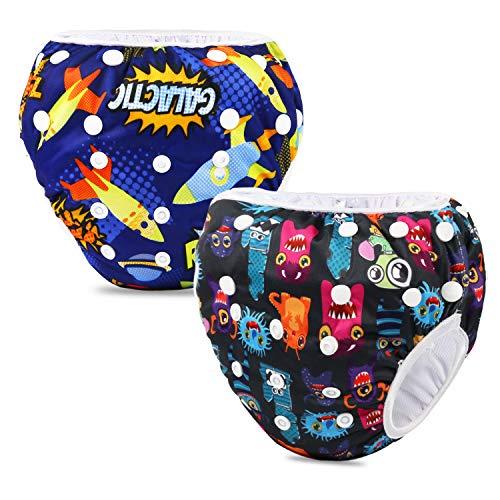 Phogary Pañal Bañador (2 Piezas) Pañal De Natar Pantalones De Entrenamiento, Pañales De Baño Para Niños Niñas 0-3 Años (3-15kg)