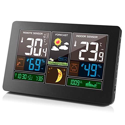 Wangcong Farbbildschirm Wettervorhersageuhr Wettervorhersageuhr Radiowelle Innen- und Außentemperatur und Luftfeuchtigkeit LED elektronische Uhr