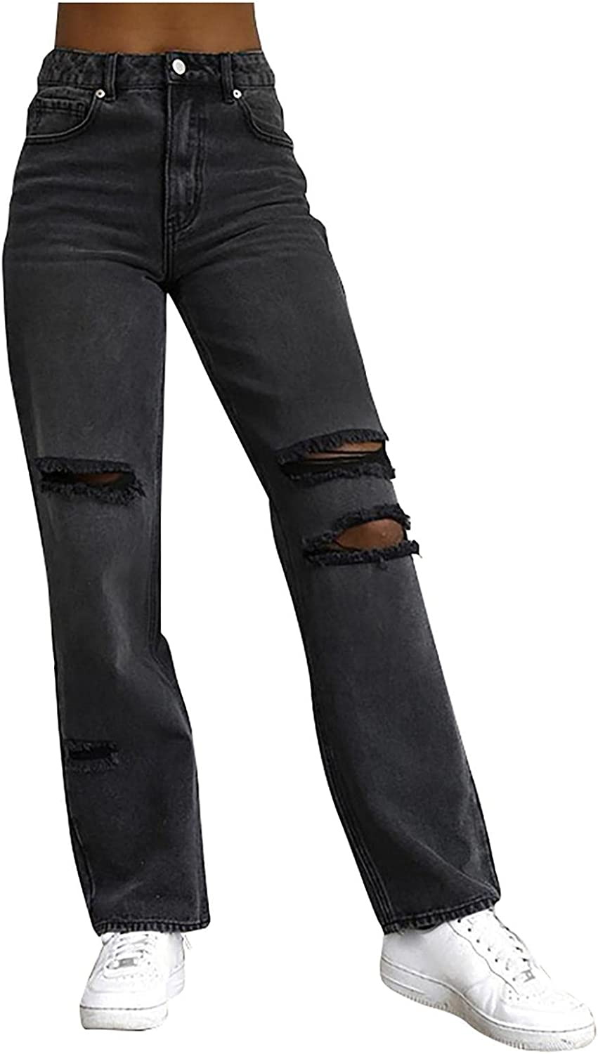 FUNEY Women's Casual High Rise Destroyed Boyfriend Jeans Washed Straight Wide Leg Distressed Ripped Baggy Denim Pants