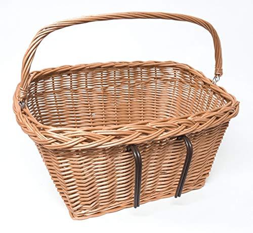 Tigana Fahrradkorb Einkaufskorb mit Tragegriff aus Weide für Lenker (eckig 47 cm Natur mit Windschutz)