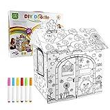 Nakelucy diy cartón grande para colorear artesanía creativa casa de juegos, 2. 2 pies de alto proyecto ensamblar y pintar juguetes educativos, para niños.