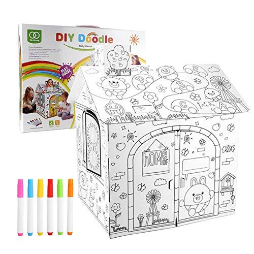 NAKELUCY DIY Cartón Grande para Colorear Artesanía Creativa Casa de Juegos, 2.2 pies de Alto Proyecto Ensamblar y Pintar Juguetes educativos, para niños.