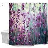 Oduo Duschvorhänge für Badewannen - 3D Blumen Druck Duschvorhang Wasserdicht Antischimmel Bad Vorhang Waschbar Badewanne Vorhang mit 10 oder 12 Duschvorhangringe (Lila Lavendel,180x200cm)