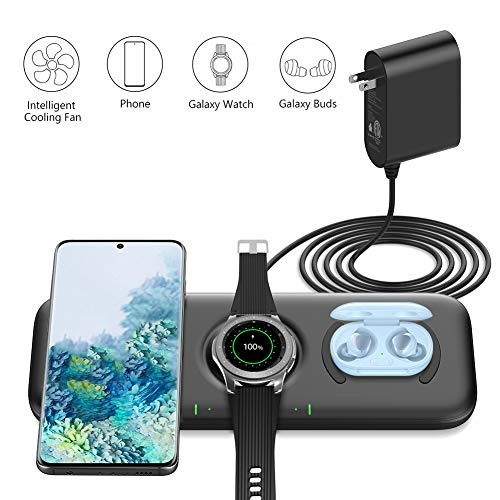 Yootech 3 in 1 Fast Wireless Charger, 22.5W Max Wireless Charging Pad with Adapter Compatible with Galaxy Watch 42mm/46mm/Active2/1,Gear S3/S2/Sport & Galaxy Buds,Galaxy S20/S10/S9/S8[Not for iWatch]