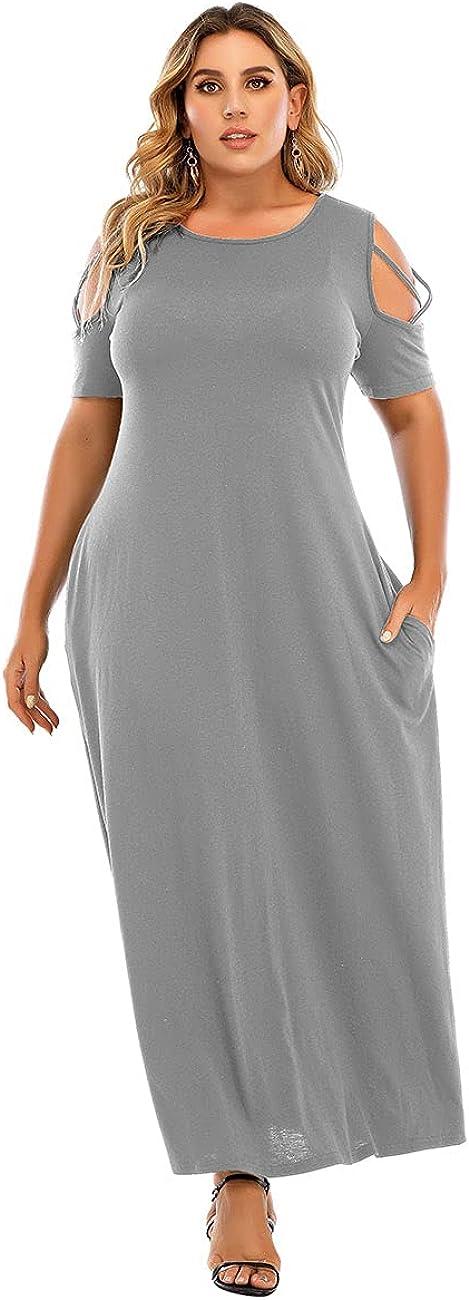 LAPA Women Plus Size Off Shoulder Casual Split Long Dress