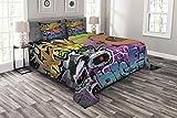 Ambesonne Urban Graffiti Bedspread, Hip Hop Design Graffiti Wall Urban Art Background Man Head Detail, Decorative Quilted 3 Piece Coverlet Set with 2 Pillow Shams, Queen Size, Purple