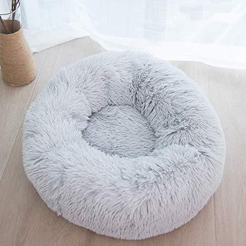 Cama para perros grande con funda lavable, cojín suave extraíble para mascotas, cama redonda calmante para mascotas, sofá para cachorros de color gris claro, XL: 100 x 100 cm QIANGQIANG