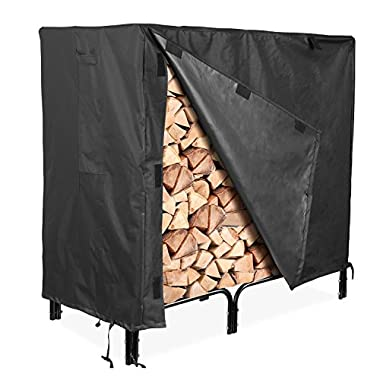 femor Log Rack Cover, 4 Feet 600D Heavy Duty Waterproof Patio Firewood Rack Cover, Black only Seller Airring