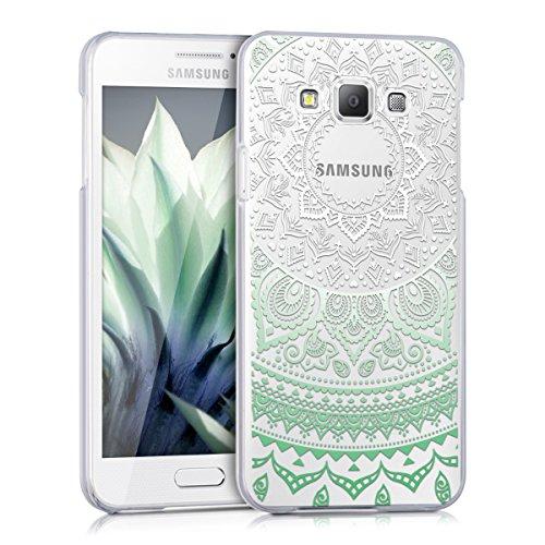 kwmobile Cover Compatibile con Samsung Galaxy A3 (2015) - Custodia Rigida Trasparente per Cellulare - Back Case Cristallo in plastica - Sole Indiano Menta/Bianco/Trasparente