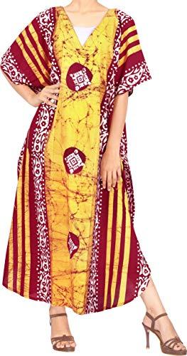 LA LEELA Femmes Coton Longue Kaftan Tunique Kimono Batik Grande Taille Robe pour Loungewear Vacances Vêtement de Nuit Plage Tous Les Jours Haut Robes Maxi Caftan Jaune_X899