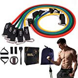 12 Pcs Resistance Bands Set Workout Bands with 5 Stackable up to 150 lb Exercise Bands with Handles, Ankle Straps,Jump Rope, Door Anchor, Carry Bag