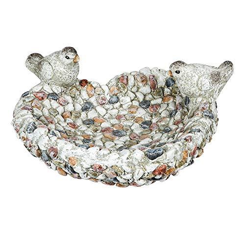 Formano vogelbad met vogels 28 cm steen mozaïek design weerbestendig magnesia tuindecoratie
