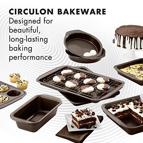 Circulon 46857 Nonstick Bakeware Set with Nonstick Bread Pan, Baking Pans, Baking Sheets, Cookie Sheets, Cake Pan and Muffin Pan / Cupcake Pan - 10 Piece, Chocolate Brown